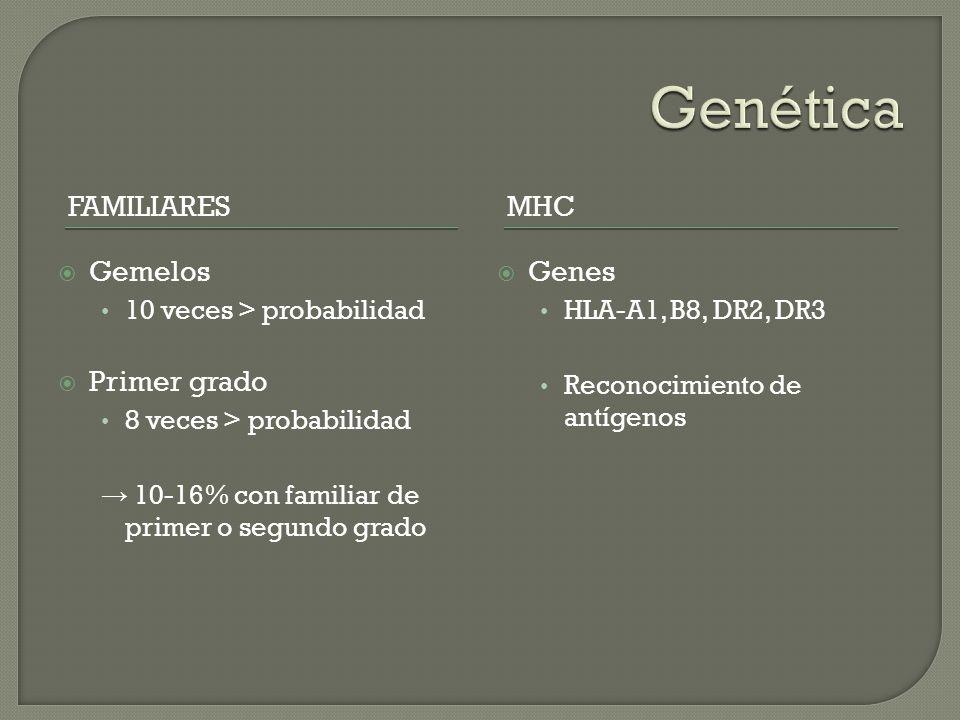 FAMILIARESMHC Gemelos 10 veces > probabilidad Primer grado 8 veces > probabilidad 10-16% con familiar de primer o segundo grado Genes HLA-A1, B8, DR2,