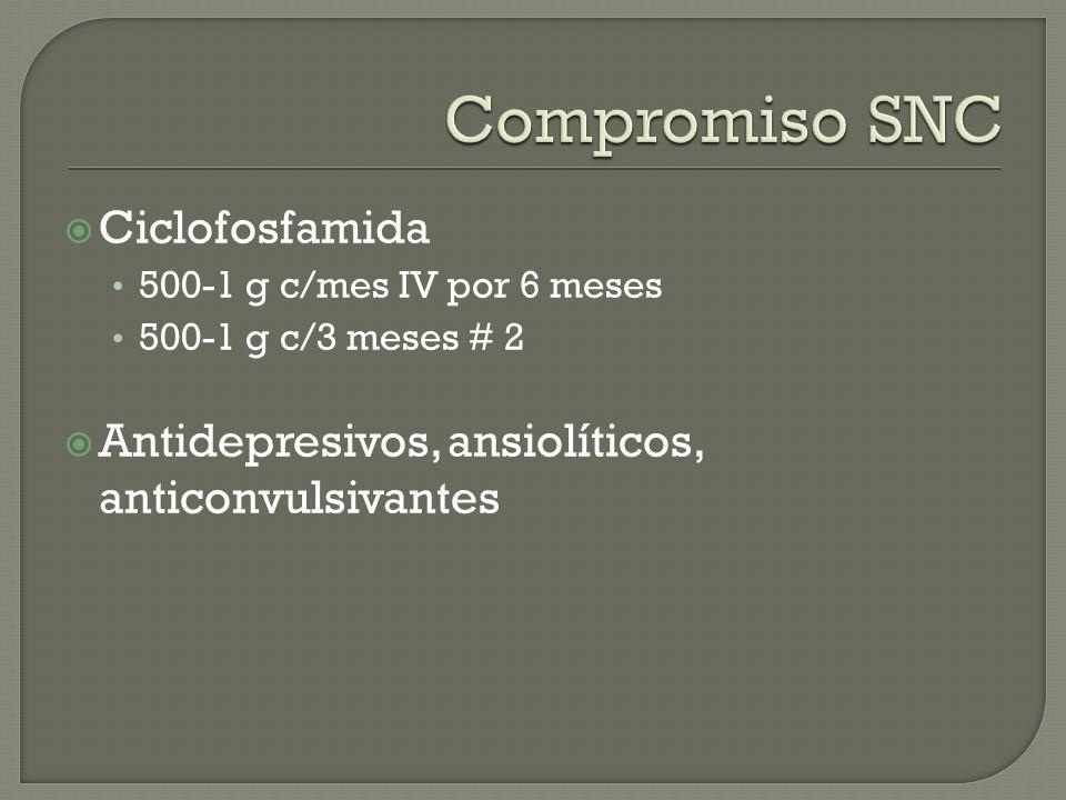 Ciclofosfamida 500-1 g c/mes IV por 6 meses 500-1 g c/3 meses # 2 Antidepresivos, ansiolíticos, anticonvulsivantes