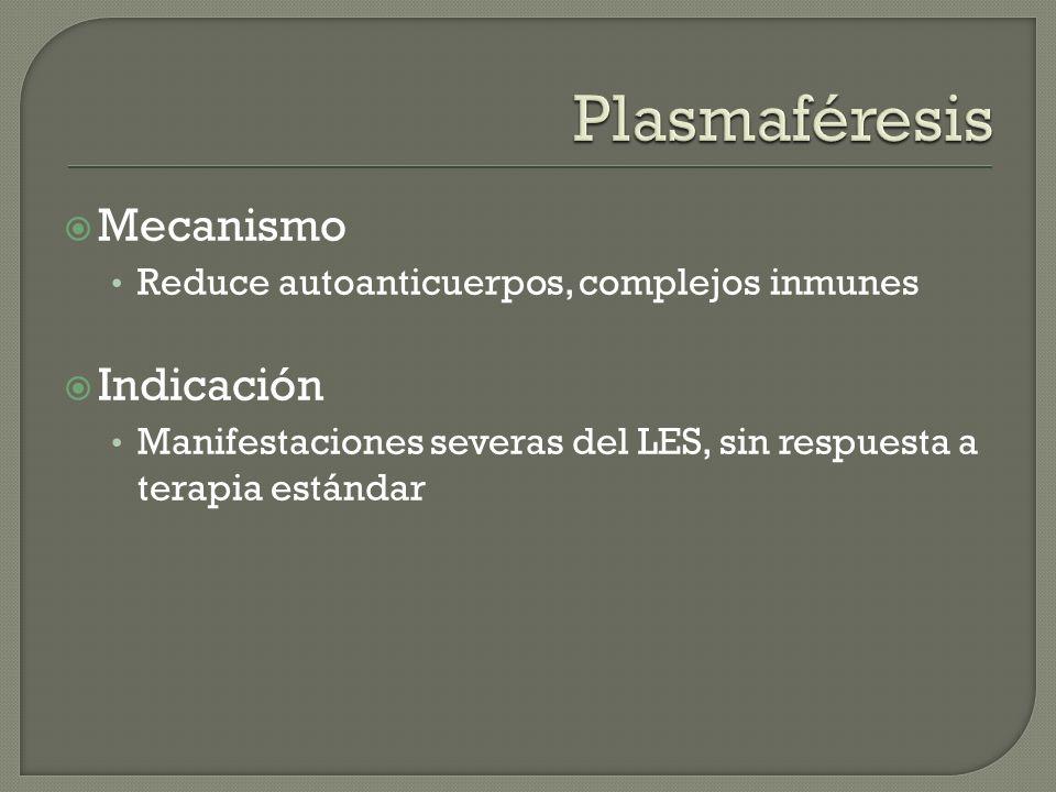 Mecanismo Reduce autoanticuerpos, complejos inmunes Indicación Manifestaciones severas del LES, sin respuesta a terapia estándar