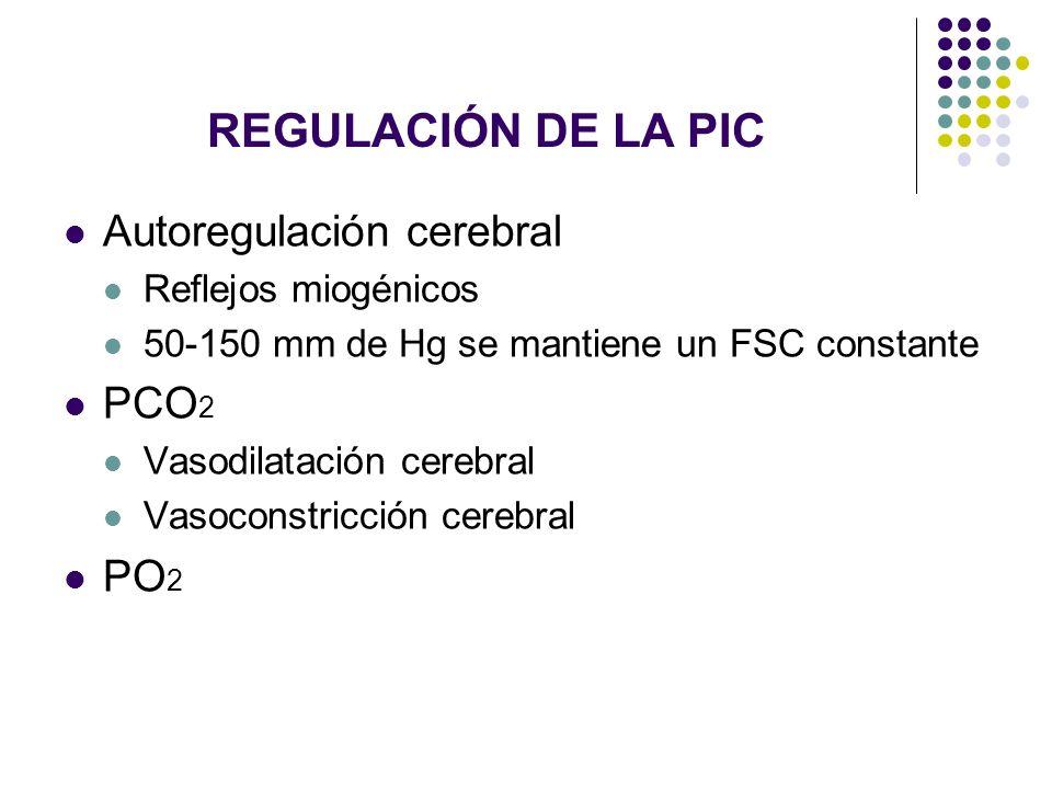 REGULACIÓN DE LA PIC Autoregulación cerebral Reflejos miogénicos 50-150 mm de Hg se mantiene un FSC constante PCO 2 Vasodilatación cerebral Vasoconstr