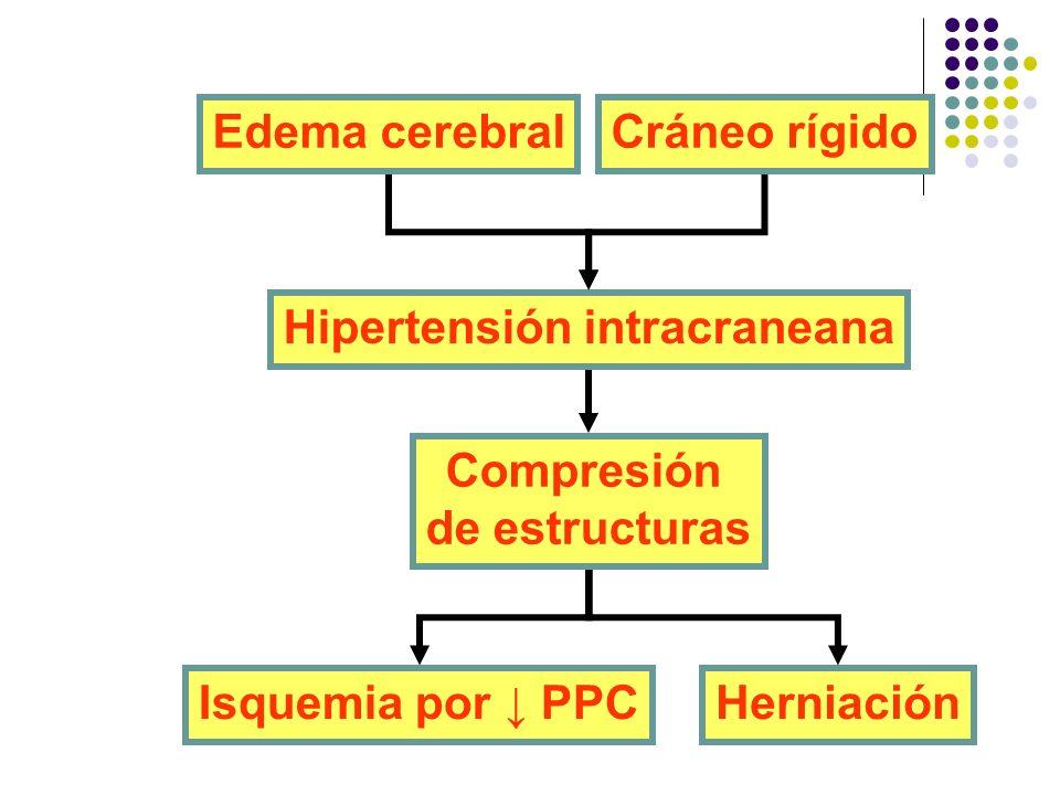 Edema cerebralCráneo rígido Hipertensión intracraneana Compresión de estructuras HerniaciónIsquemia por PPC