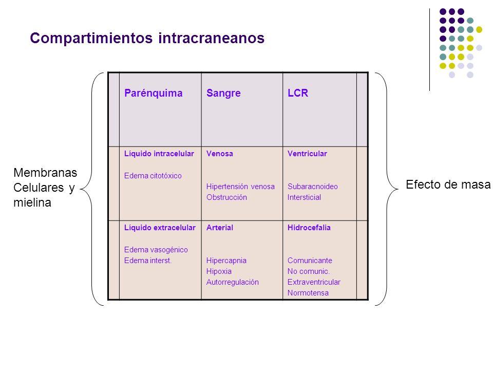 Compartimientos intracraneanos ParénquimaSangreLCR Líquido intracelular Edema citotóxico Venosa Hipertensión venosa Obstrucción Ventricular Subaracnoi