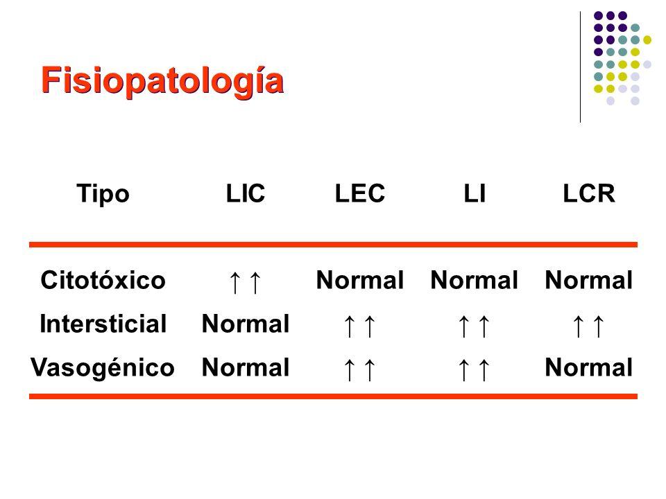 Fisiopatología Tipo Citotóxico Intersticial Vasogénico LIC Normal LEC Normal LI Normal LCR Normal Normal