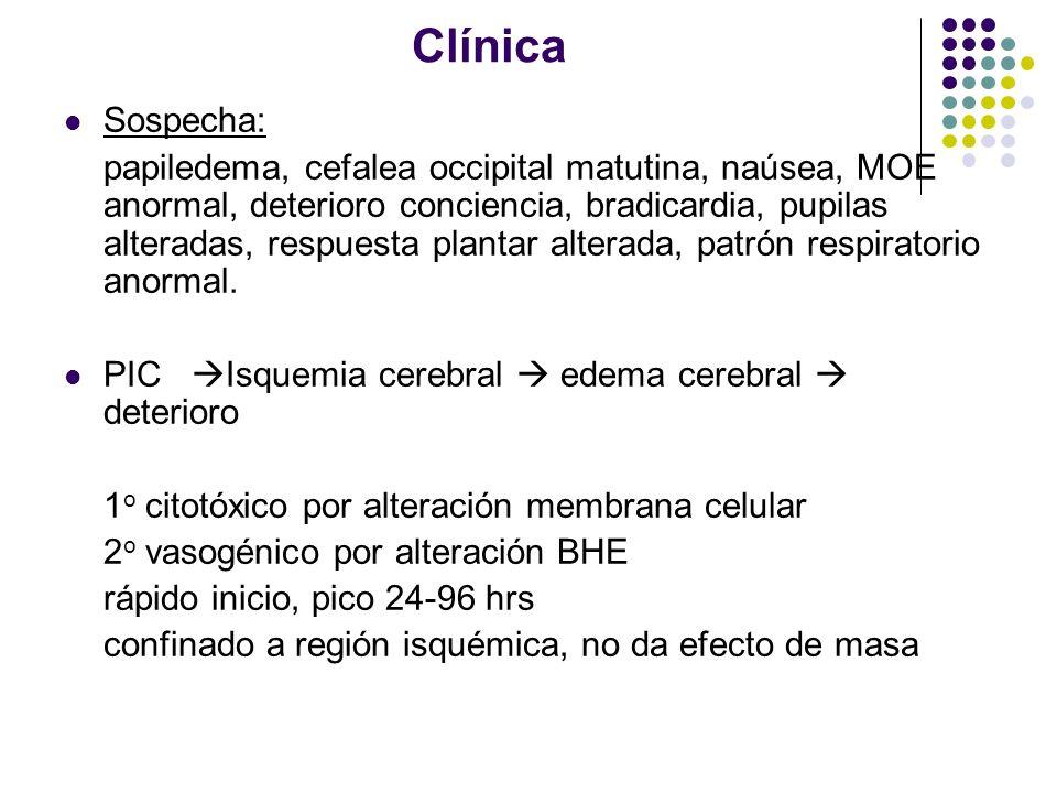 Clínica Sospecha: papiledema, cefalea occipital matutina, naúsea, MOE anormal, deterioro conciencia, bradicardia, pupilas alteradas, respuesta plantar
