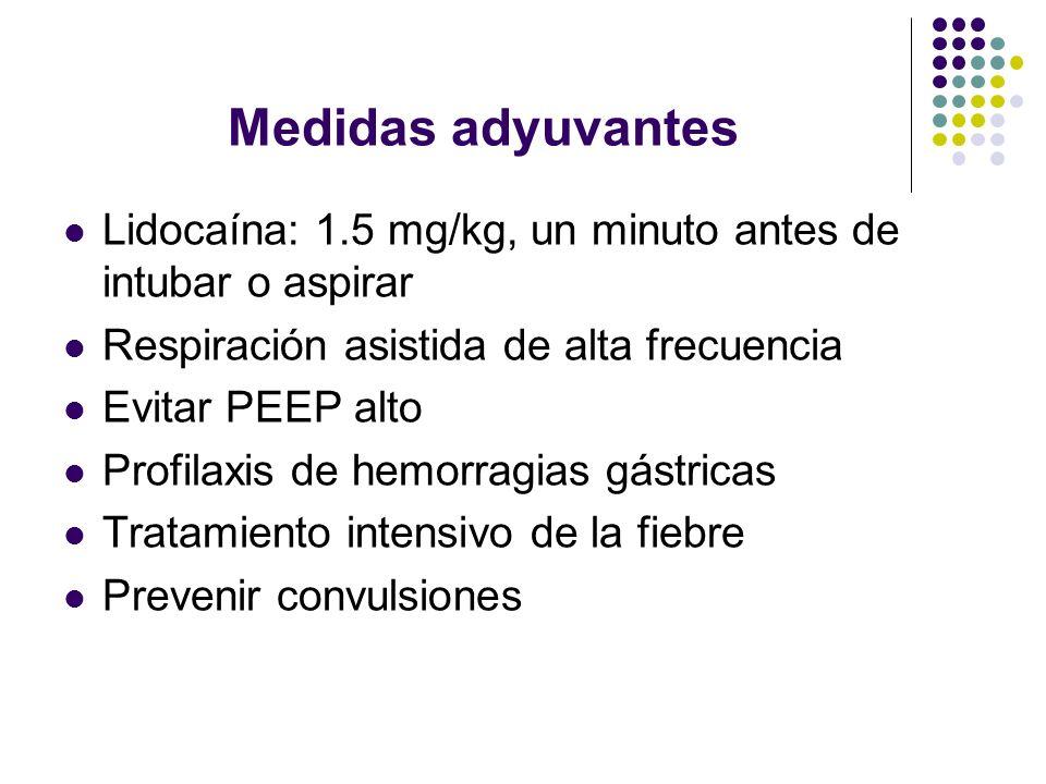 Medidas adyuvantes Lidocaína: 1.5 mg/kg, un minuto antes de intubar o aspirar Respiración asistida de alta frecuencia Evitar PEEP alto Profilaxis de h