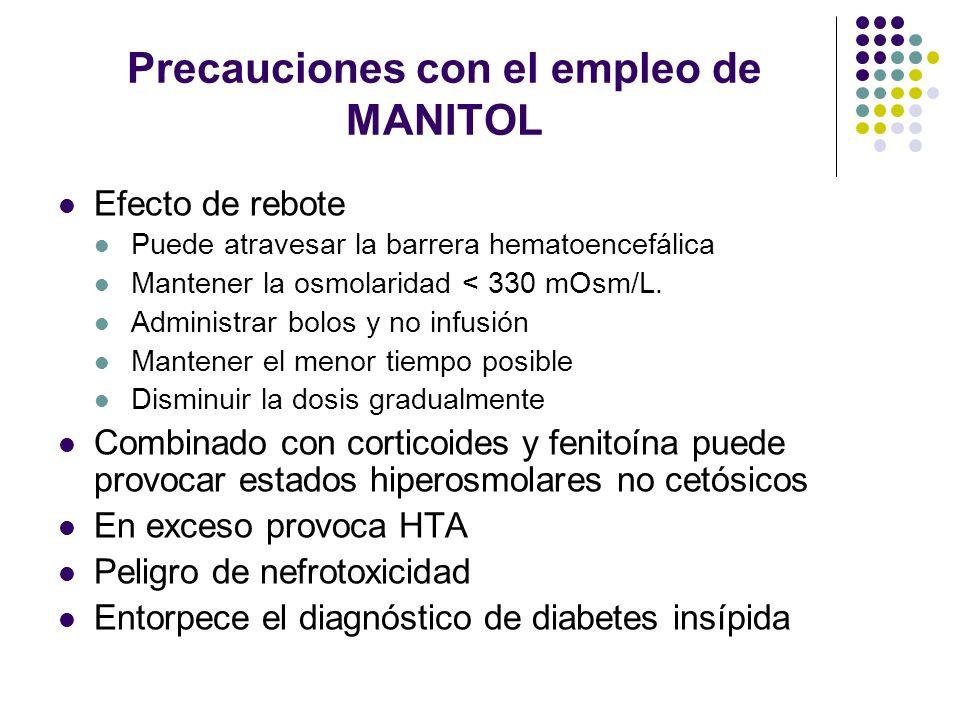 Precauciones con el empleo de MANITOL Efecto de rebote Puede atravesar la barrera hematoencefálica Mantener la osmolaridad < 330 mOsm/L. Administrar b