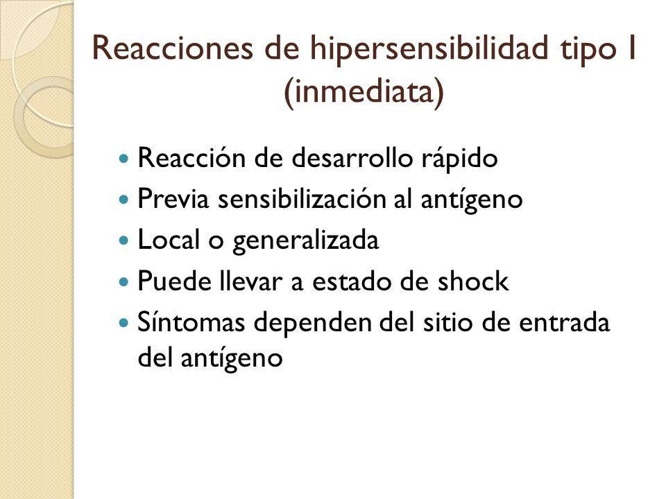 Reacciones de hipersensibilidad tipo I (inmediata) Reacción de desarrollo rápido Previa sensibilización al antígeno Local o generalizada Puede llevar