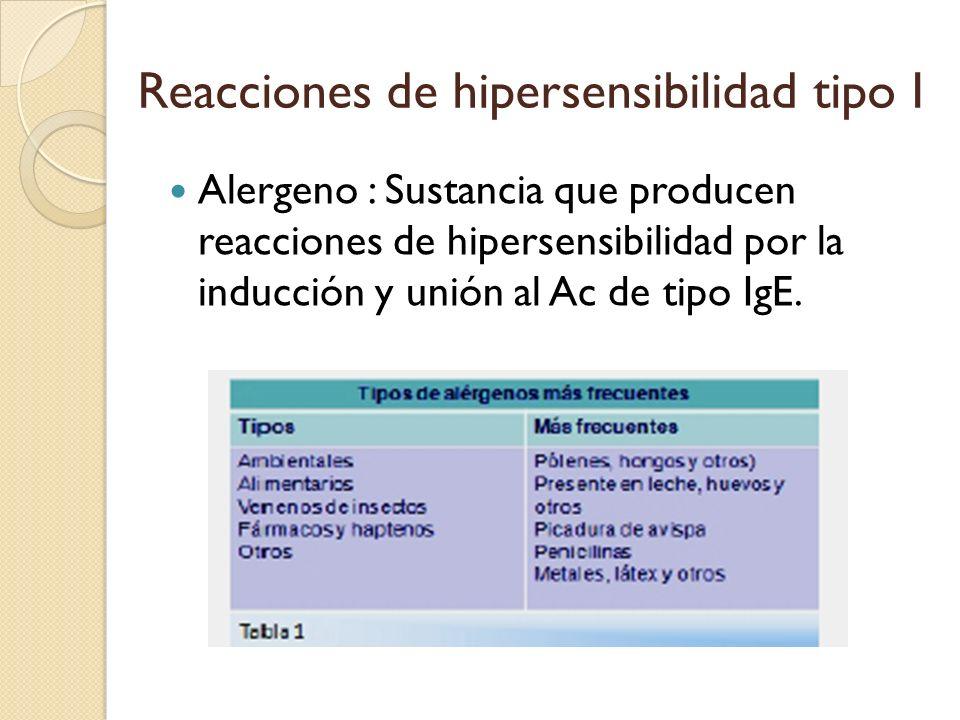 Reacciones de hipersensibilidad tipo I Alergeno : Sustancia que producen reacciones de hipersensibilidad por la inducción y unión al Ac de tipo IgE.