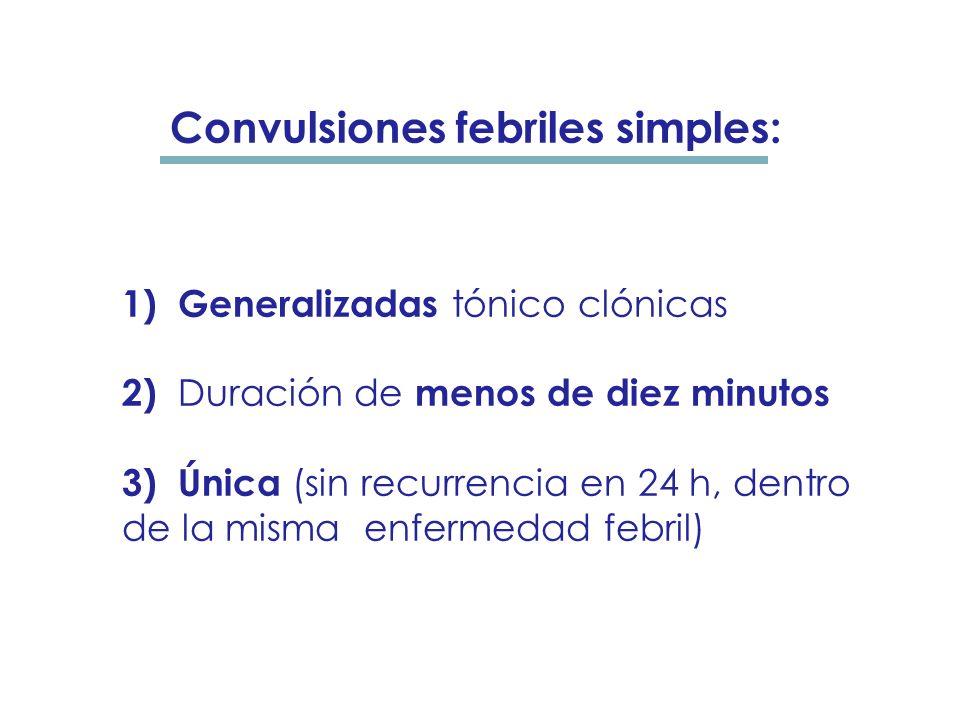 4) Ausencia de infección intracraneal, de convulsiones de recién nacido o de crisis previas no provocadas. Criterios diagnósticos:
