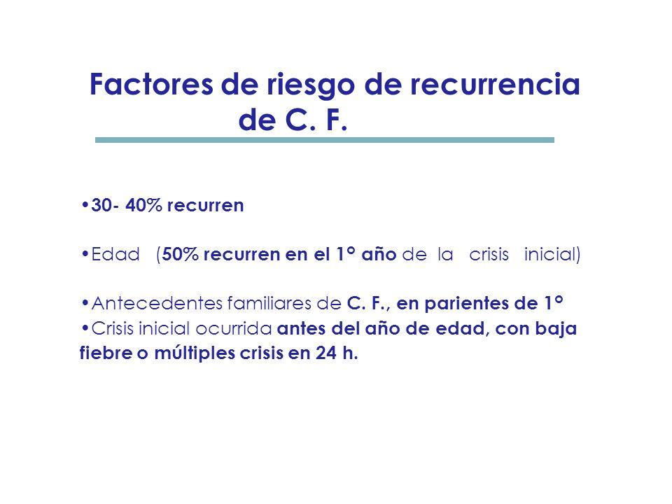 Convulsiones febriles complejas: 1) Parciales ( focales ) 2) Duración de más de diez minutos 3) Múltiples (recurrencia en 24 h, dentro de la misma enf