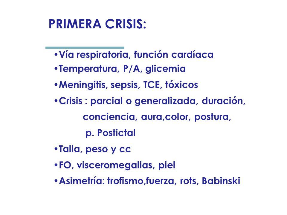 Vía respiratoria, función cardíaca Temperatura, P/A, glicemia Meningitis, sepsis, TCE, tóxicos Crisis : parcial o generalizada, duración, conciencia, aura,color, postura, p.