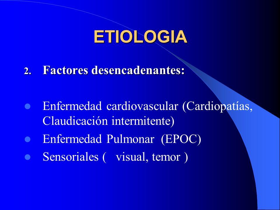ETIOLOGIA 2. Factores desencadenantes: Enfermedad cardiovascular (Cardiopatías, Claudicación intermitente) Enfermedad Pulmonar (EPOC) Sensoriales ( vi