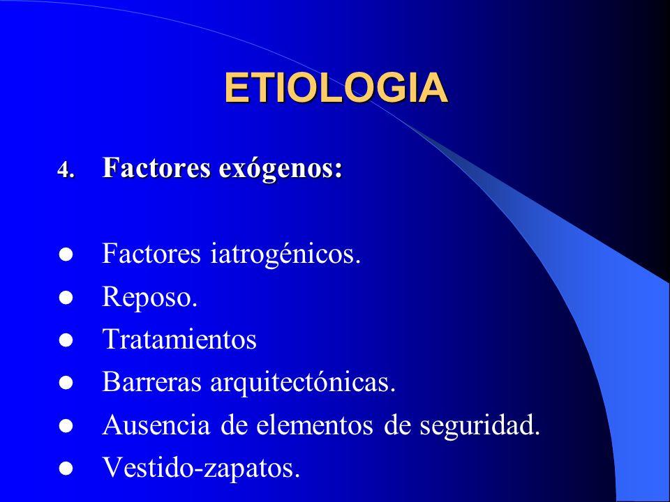 ETIOLOGIA 4. Factores exógenos: Factores iatrogénicos. Reposo. Tratamientos Barreras arquitectónicas. Ausencia de elementos de seguridad. Vestido-zapa