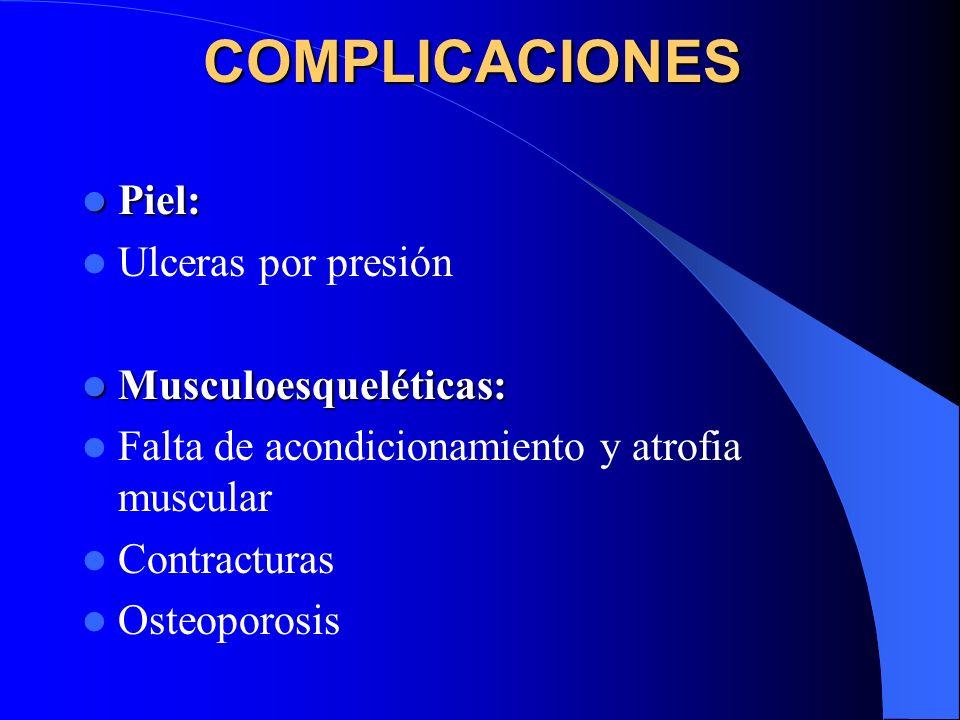 COMPLICACIONES Piel: Piel: Ulceras por presión Musculoesqueléticas: Musculoesqueléticas: Falta de acondicionamiento y atrofia muscular Contracturas Os