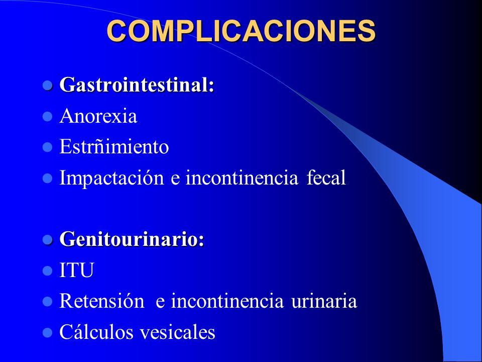COMPLICACIONES Gastrointestinal: Gastrointestinal: Anorexia Estrñimiento Impactación e incontinencia fecal Genitourinario: Genitourinario: ITU Retensi