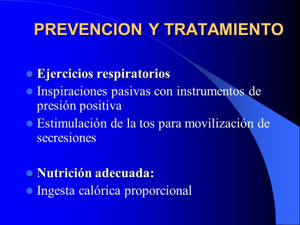 PREVENCION Y TRATAMIENTO Ejercicios respiratorios Ejercicios respiratorios Inspiraciones pasivas con instrumentos de presión positiva Estimulación de