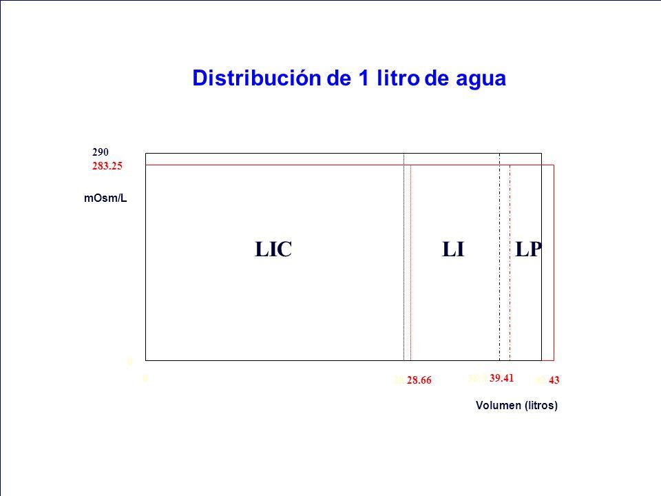 0 290 283.25 mOsm/L Volumen (litros) 28 28.66 38.5 39.41 42 43 Distribución de 1 litro de agua 0 LICLILP