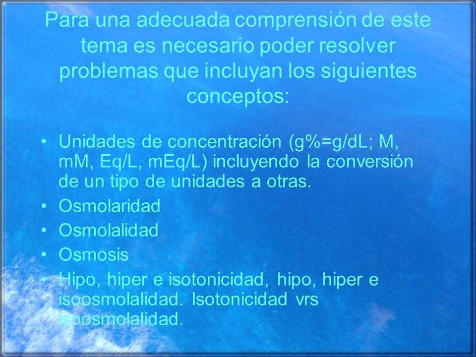 Líquido Plasmático Líquido Extracelular Agua Corporal Total Albúmina radioactiva, marcada con 131 I Inulina, rafinosa, sucrosa, manitol Antipirina Azul de Evans (colorante que se une a las proteínas) TiosulfatoAgua pesada o tritiada Eritrocitos marcados con 51 Cr (mide sangre) 36 Cl -, 22 Na + o 24 Na +, 86 Br - Sustancias utilizadas para la medición de los diferentes compartimientos líquidos corporales por el método de la dilución Fórmula a utilizar: Concentración = Cantidad o masa agregada/volumen