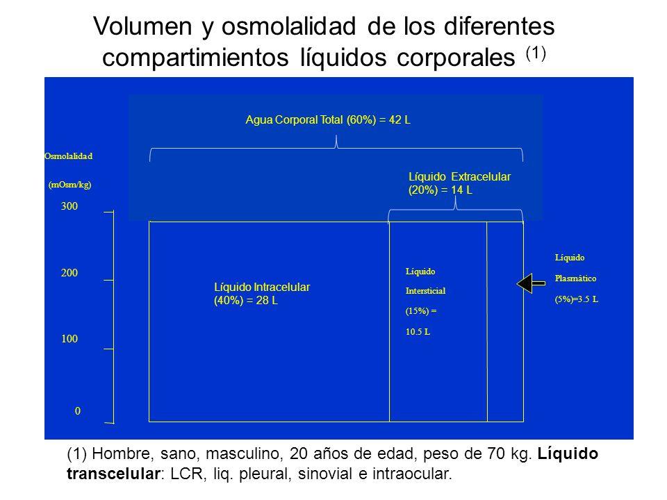 Volumen y osmolalidad de los diferentes compartimientos líquidos corporales (1) (1) Hombre, sano, masculino, 20 años de edad, peso de 70 kg. Líquido t