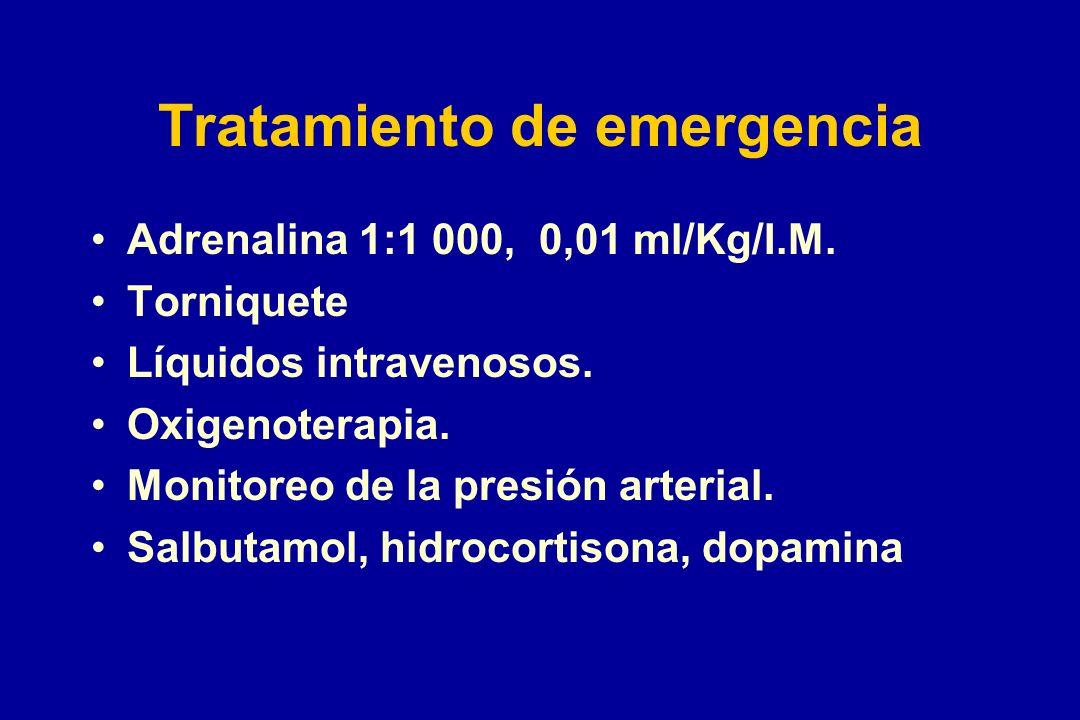 Tratamiento de emergencia Adrenalina 1:1 000, 0,01 ml/Kg/I.M. Torniquete Líquidos intravenosos. Oxigenoterapia. Monitoreo de la presión arterial. Salb