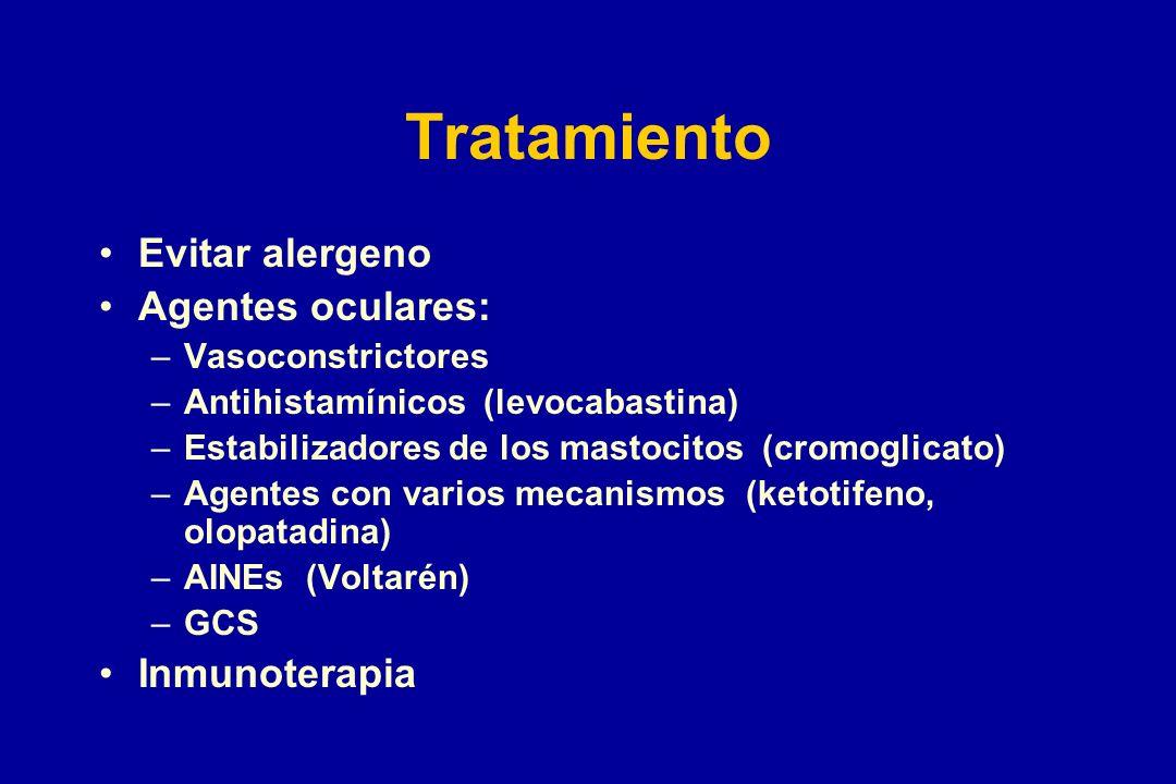 Tratamiento Evitar alergeno Agentes oculares: –Vasoconstrictores –Antihistamínicos (levocabastina) –Estabilizadores de los mastocitos (cromoglicato) –