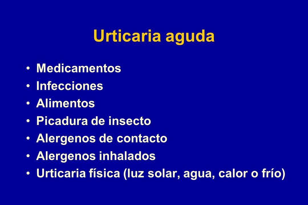 Urticaria aguda Medicamentos Infecciones Alimentos Picadura de insecto Alergenos de contacto Alergenos inhalados Urticaria física (luz solar, agua, ca