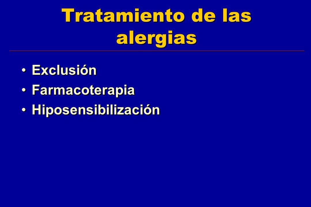 Tratamiento de las alergias Exclusión Farmacoterapia Hiposensibilización Exclusión Farmacoterapia Hiposensibilización