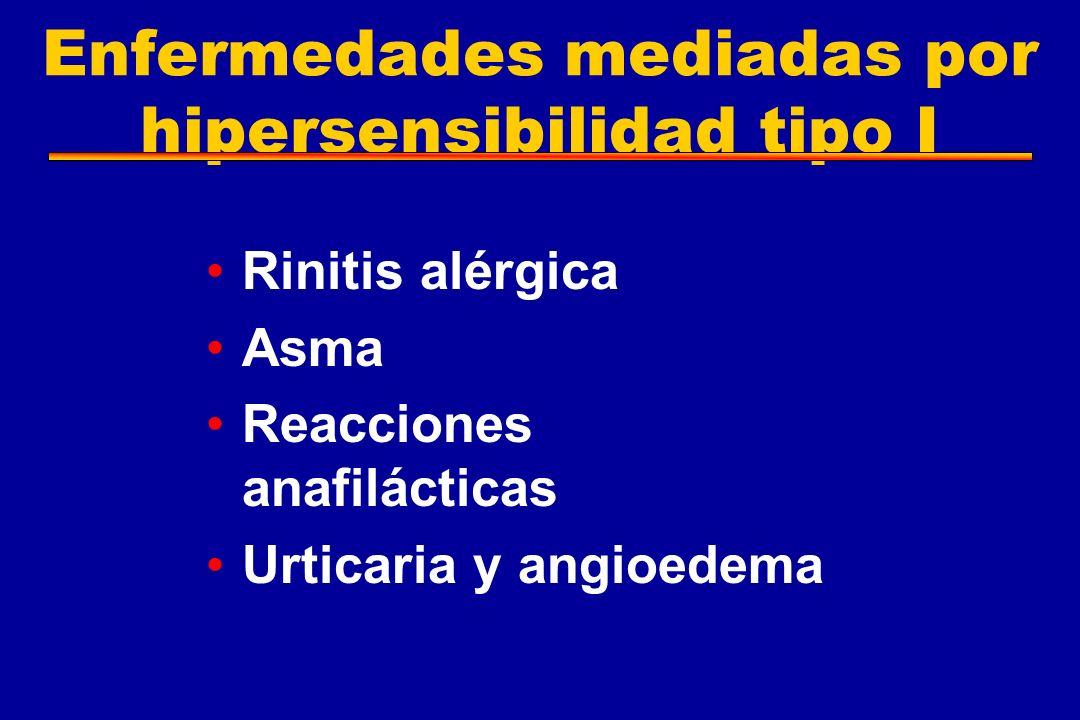 Enfermedades mediadas por hipersensibilidad tipo I Rinitis alérgica Asma Reacciones anafilácticas Urticaria y angioedema