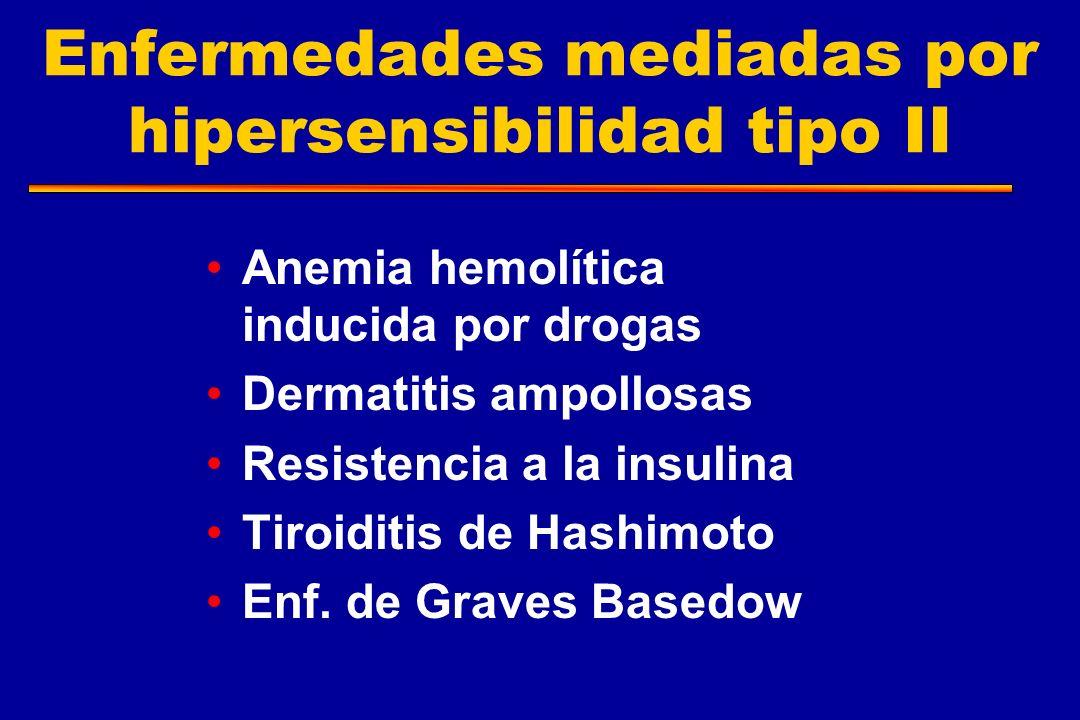 Enfermedades mediadas por hipersensibilidad tipo II Anemia hemolítica inducida por drogas Dermatitis ampollosas Resistencia a la insulina Tiroiditis d