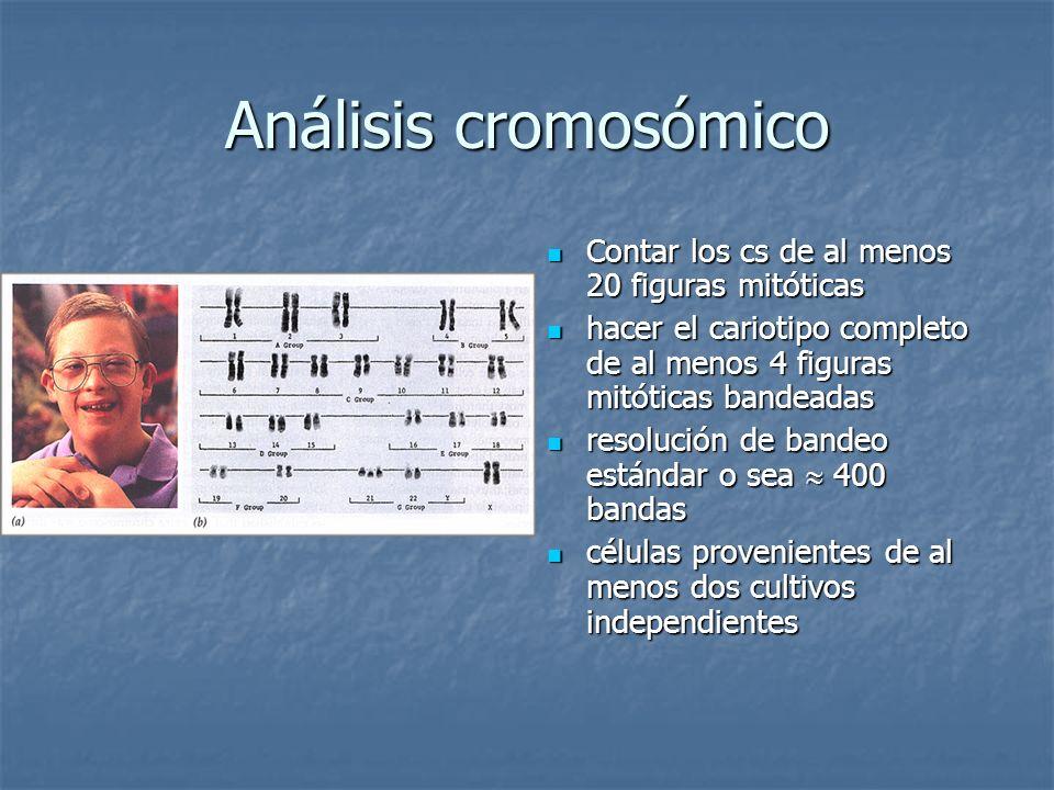 Análisis cromosómico Contar los cs de al menos 20 figuras mitóticas Contar los cs de al menos 20 figuras mitóticas hacer el cariotipo completo de al m