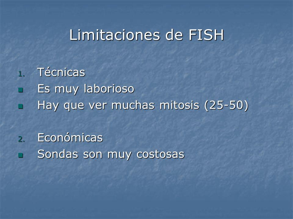 Limitaciones de FISH 1. Técnicas Es muy laborioso Es muy laborioso Hay que ver muchas mitosis (25-50) Hay que ver muchas mitosis (25-50) 2. Económicas