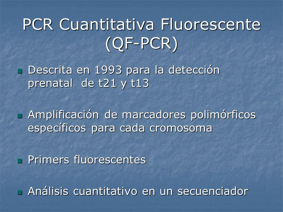 PCR Cuantitativa Fluorescente (QF-PCR) Descrita en 1993 para la detección prenatal de t21 y t13 Descrita en 1993 para la detección prenatal de t21 y t
