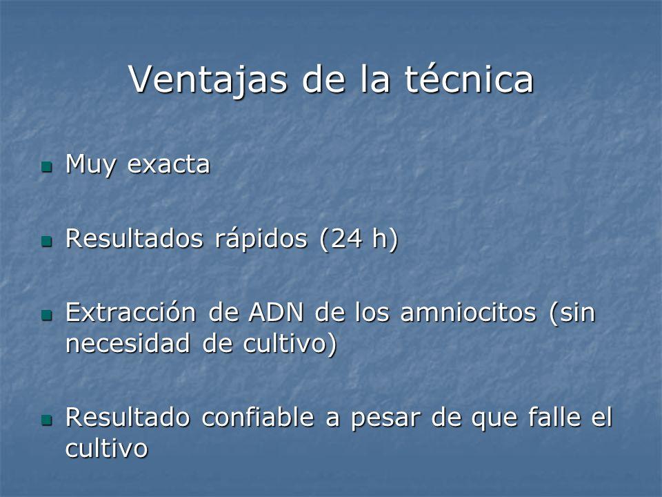 Ventajas de la técnica Muy exacta Muy exacta Resultados rápidos (24 h) Resultados rápidos (24 h) Extracción de ADN de los amniocitos (sin necesidad de
