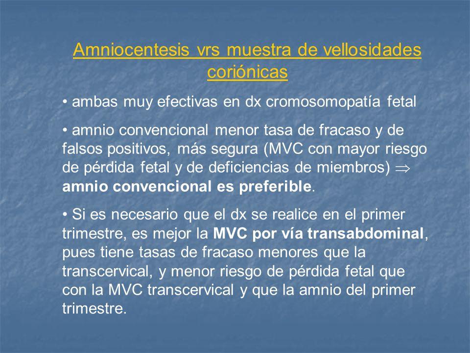 Amniocentesis vrs muestra de vellosidades coriónicas ambas muy efectivas en dx cromosomopatía fetal amnio convencional menor tasa de fracaso y de fals