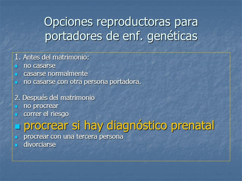 Opciones reproductoras para portadores de enf. genéticas 1. Antes del matrimonio: no casarse no casarse casarse normalmente casarse normalmente no cas