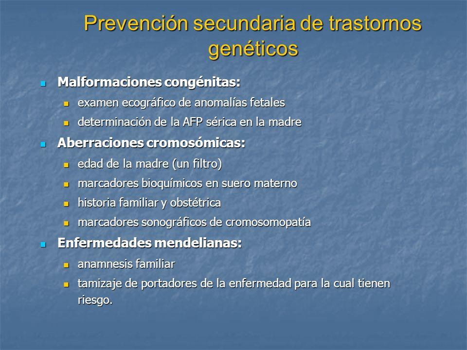 Prevención secundaria de trastornos genéticos Malformaciones congénitas: Malformaciones congénitas: examen ecográfico de anomalías fetales examen ecog