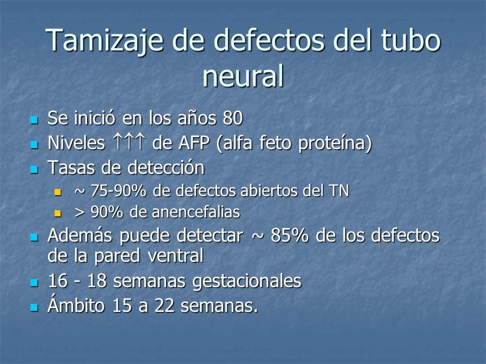 Tamizaje de defectos del tubo neural Se inició en los años 80 Se inició en los años 80 Niveles de AFP (alfa feto proteína) Niveles de AFP (alfa feto p