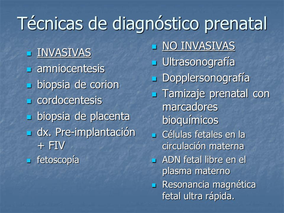 Técnicas de diagnóstico prenatal INVASIVAS INVASIVAS amniocentesis amniocentesis biopsia de corion biopsia de corion cordocentesis cordocentesis biops
