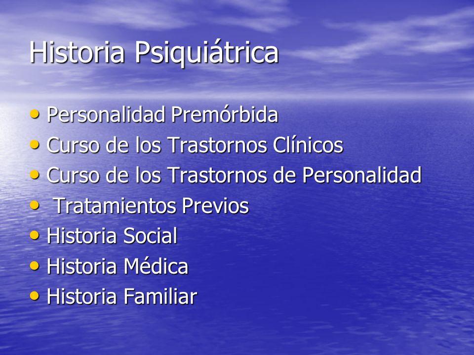 Historia Psiquiátrica Personalidad Premórbida Personalidad Premórbida Curso de los Trastornos Clínicos Curso de los Trastornos Clínicos Curso de los T