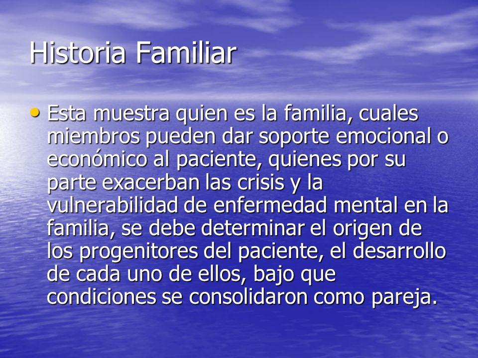 Historia Familiar Esta muestra quien es la familia, cuales miembros pueden dar soporte emocional o económico al paciente, quienes por su parte exacerb