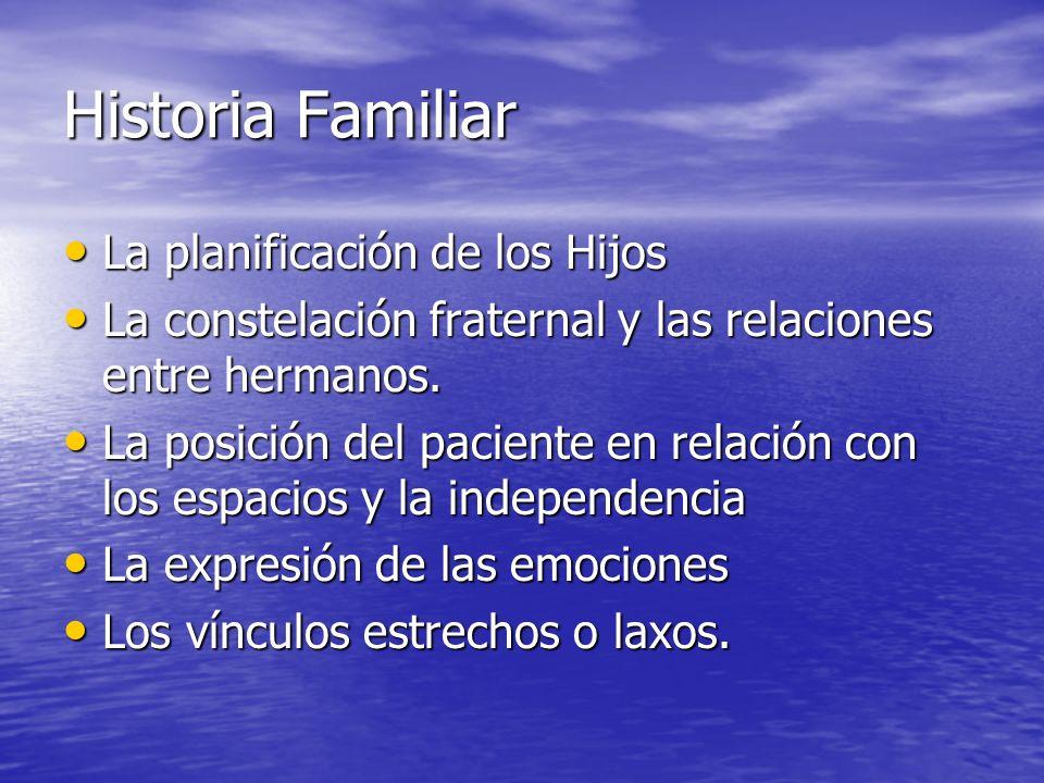 Historia Familiar La planificación de los Hijos La planificación de los Hijos La constelación fraternal y las relaciones entre hermanos. La constelaci