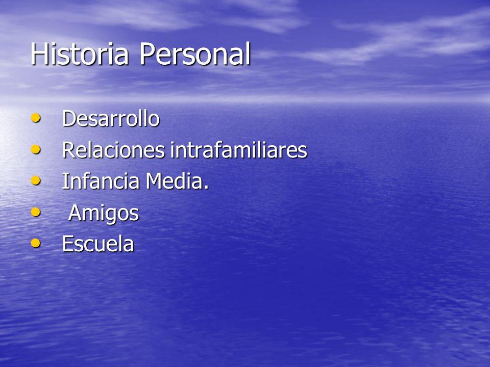 Historia Personal Desarrollo Desarrollo Relaciones intrafamiliares Relaciones intrafamiliares Infancia Media.
