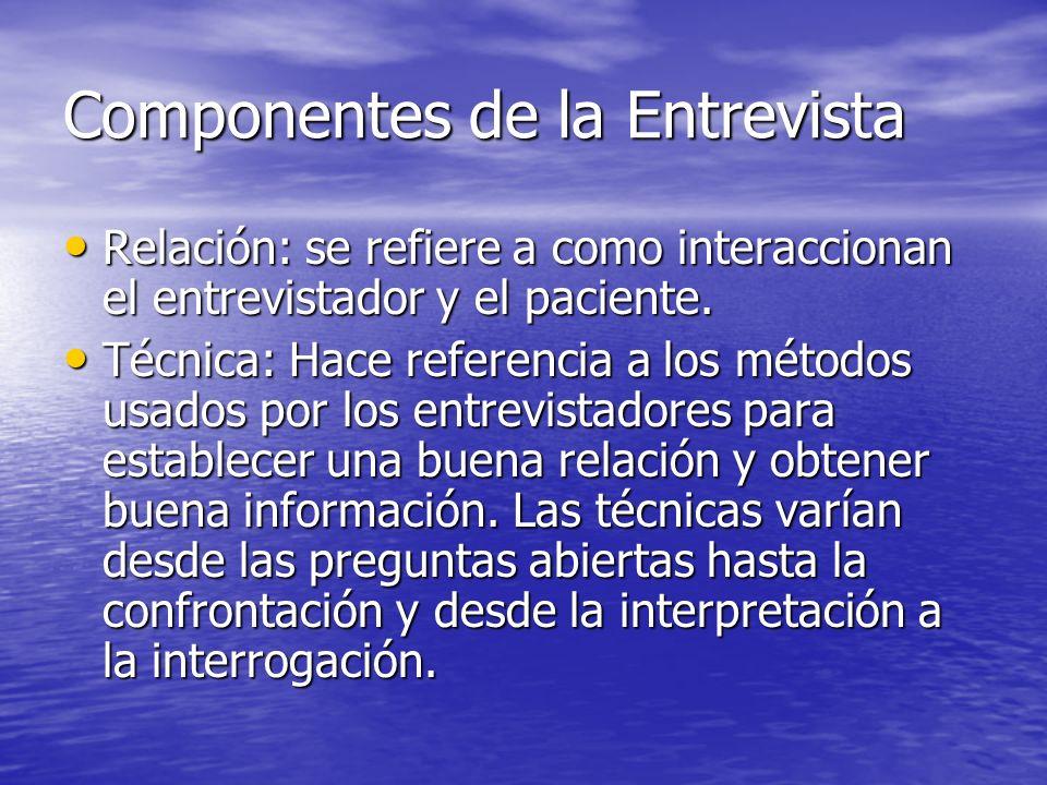 Componentes de la Entrevista Relación: se refiere a como interaccionan el entrevistador y el paciente. Relación: se refiere a como interaccionan el en