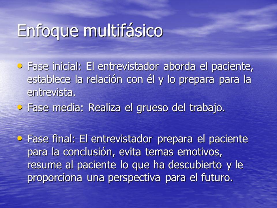 Enfoque multifásico Fase inicial: El entrevistador aborda el paciente, establece la relación con él y lo prepara para la entrevista.