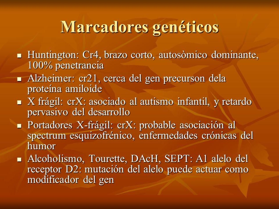 Marcadores genéticos Huntington: Cr4, brazo corto, autosòmico dominante, 100% penetrancia Huntington: Cr4, brazo corto, autosòmico dominante, 100% pen