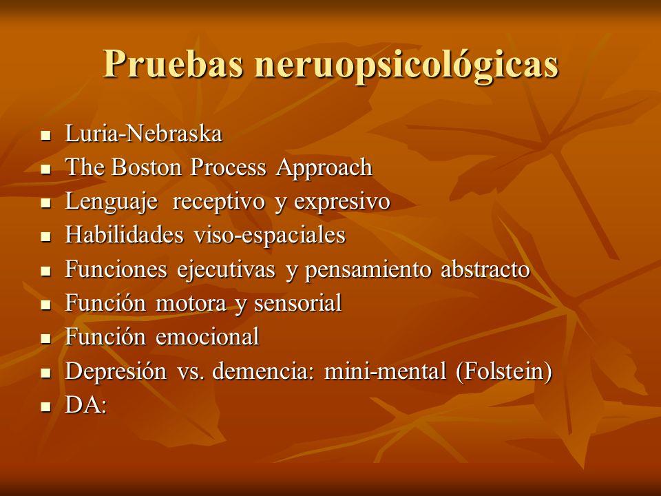 Pruebas neruopsicológicas Luria-Nebraska Luria-Nebraska The Boston Process Approach The Boston Process Approach Lenguaje receptivo y expresivo Lenguaj