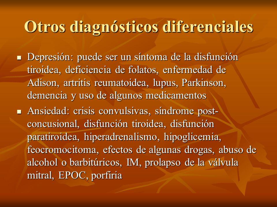 Otros diagnósticos diferenciales Depresión: puede ser un síntoma de la disfunción tiroidea, deficiencia de folatos, enfermedad de Adison, artritis reu
