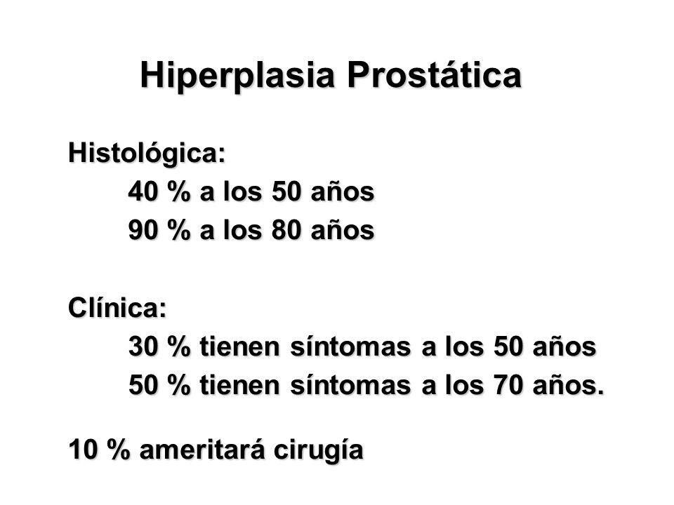 Hiperplasia Prostática Histológica: Histológica: (Estudios en autopsia) 40 % a los 50 años 90 % a los 80 años Clínica: 30 % tienen síntomas a los 50 a