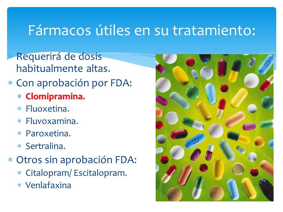 Requerirá de dosis habitualmente altas. Con aprobación por FDA: Clomipramina. Clomipramina. Fluoxetina. Fluvoxamina. Paroxetina. Sertralina. Otros sin
