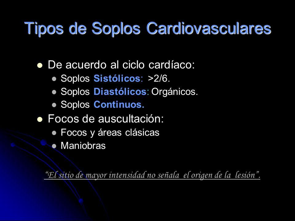 Causas de Soplos Taquicardia Anemia Fiebre Embarazo Válvulas cardiacas defectuosas. Agujeros en las paredes del corazón. Comunicaciones arterio-venosa